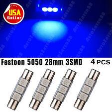 4 X Ultra Blue Festoon Fuse 28mm-29mm 5050 3SMD SunVisor Vanity Mirror LED Light