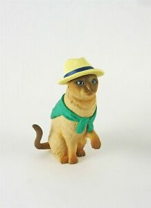"Dollhouse Miniature Cat with Straw Hat, Sweater, LEON, 2/3/8"" Tall"