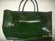 "Ladies Forest Green Faux Snakeskin 12"" HUGE Tote Handbag Purse-Slightly Used"