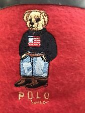 Nwt Ralph Lauren Home Polo Bear Cozy Soft Red Fleece Throw Blanket 54�x72�
