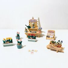 Sylvanian Families Flower Shop Garden Furniture Bundle Flower Pots Wheelbarrow