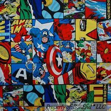 BonEful Fabric Cotton Quilt VTG Block Super Hero Captain America Comic Boy SCRAP