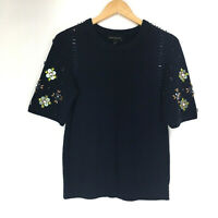 Banana Republic Womens size Small Navy Blue Sweater Knit Top Beaded Short Sleeve