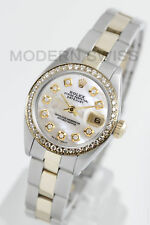 Rolex Ladies Datejust Gold & Steel White MOP Diamond Dial & Bezel Oyster 2Tone