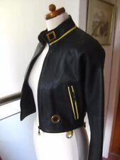Ladies slimfit short leather JACKET COAT size UK 8 biker bomber steampunk bolero