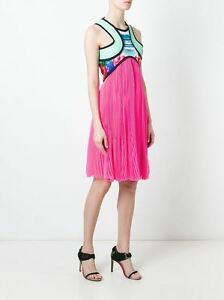 DSQUARED2 3000$ Authentic New Pleated Silk Palm Print Dress 36 / 40