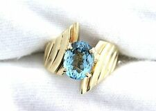 10Kt REAL Yellow Gold 9x7 Oval Blue Topaz Gemstone Gem Fashion Ring Size 3.5