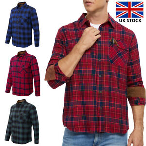 Mens Check Shirt Long Sleeve Flannel Lumberjack Lightweight Causal Work Wear New