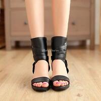 Gladiator Womens Hidden Wedge Heels Buckle Open Toe Punk Lady Shoes Sandals Size