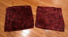 Pottery Barn Square Red Purple Chenille Pillow Covers Shams 18x18 Set of 2