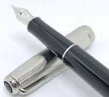 Parker Sonnet P.III Black Silver Lustre Cap Fountain Pen 18K Gold Nib