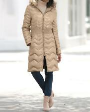 Women's winter parka quilted down feather fur hooded coat jacket plus 22W &fit3X