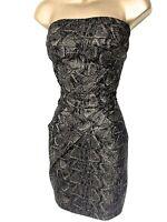 Womens New Karen Millen party Dress Strapless Metallic Black Bronze Size 16 44