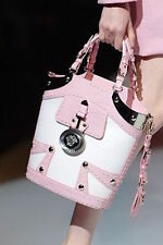100% Authentic VERSACE Pink & White Croc Print Leather Metal Bucket Handle Bag