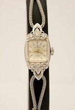 Vintage Bucherer/ Elgin 14K White Gold & Stainless Silver Dial 1920s Watch