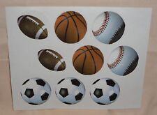 Football,Baseball,Soccer Cupcake Sport Stickers,Edible  Paper Prints,DecoPac,