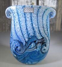 "Gozo Malta Glass vase ""collection The Big Blue by Besson"" Pop Art Deco Novaro"
