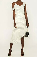 Oasis White Polka Dot Spot Cold Shoulder Asymmetrical  Frill Midi Dress Size 16