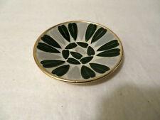 "Vintage Mid Century Modern Mosaic Tile Pattern White Green Gold Small Dish 5.25"""
