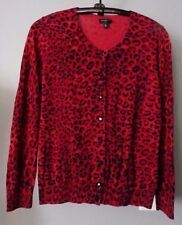 TALBOTS PETITES Red ANIMAL PRINT Cardigan Sweater Size SP