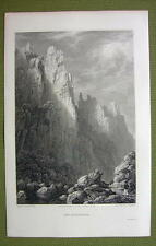 GERMANY Saxony Rosstrappe Rocks Harz - 1820s Copper Engraving by Cpt. Batty