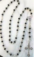 Rosary Hand made with Black & Clear Glass Crystals w/ Silver Cross Catholic