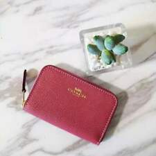 Coach F27569 Zip Around Coin Card Case Strawberry Leather Wallet