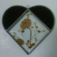 """Heart Sun Catcher Ornament Leaded Red Stained Glass Dried Flowers 5"""" H 5"""" W"""