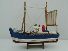 SHABBY CHIC DISTRESSED FINISH FISHING BOAT TRAWLER ON WOODEN STAND NAUTICAL