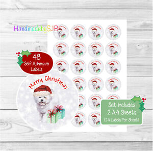 Bichon Frise Dog Christmas Stickers/Envelope Seals, 48 Labels For Cards/Gifts