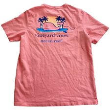 Vineyard Vines Ocean Reef Pink Whale Youth Top Girls T-Shirt • Large L (16)