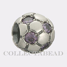Authentic Pandora Sterling Silver Amethyst CZ Soccer Ball Bead  79444ACZ
