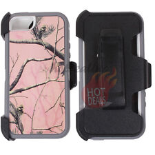 For Apple iPhone 5/5s Pink Camo Case Cover (Belt Clip Fits OtterBox Defender) #T