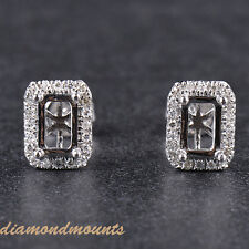 EMERALD CUT 4X6MM SOLID 14K WHITE GOLD NATURAL DIAMOND SEMI MOUNT EARRINGS