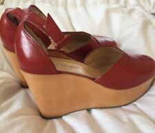 ROBERT CLERGERIE SHOES ANKLE WRAP PLATFORM WEDGE SANDALS HEELS RED Size 6.5