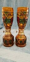 2 Vintage Multi Color Stained Glass Style Oil Lamps Made in Hong Kong