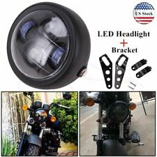 """6.5"""" inch Motorcycle Headlight Round LED Projector Bracket For Harley Cafe Racer"""