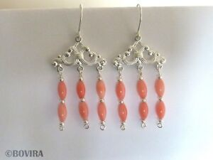 Pink Coral Silver Plated Handmade Chandelier Earrings-Sterling Silver Hooks-Gift