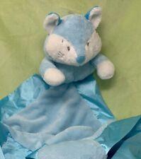 Baby Ganz blue white fox baby Security Blanket satin edge Finley Fox