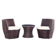 3pc Outdoor Patio Wicker Set Chat Chair and Table w/ Cushion Seat Vase Rattan