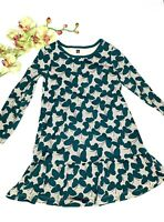 Tea Collection Girls Size 6 Multicolor Dress Butterfly Print Green Long Sleeves