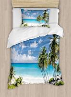 Tropical Duvet Cover Set Twin Size Barbados Beach Ocean with 1 Pillow Sham