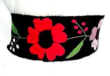 Mexican Belts Sash BLACK color HAND EMBROIDERED Wrap Around FRIDA KAHLO FLORAL