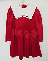 BONNIE JEAN Girl Velvet Red Long Sleeve Bow Dress Christmas Size 7 New No Tags