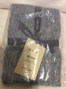 West Elm One Belgian Flax Linen Melange Standard Sham NEW Slate Gray European
