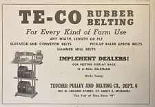 1945 AD.(XF25)~TEUCHER PULLEY & BELTING CO. ST. LOUIS, MO. TE-CO RUBBER BELTING