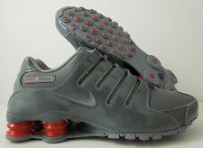 MEN'S NIKE SHOX NZ PATENT LEATHER DARK GREY-CHARCOAL-GYM RED SZ 8 [378341-043]