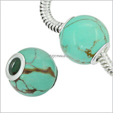 Sterling Silver Turquoise Barrel Charm Bead Fit European Bracelet #94096