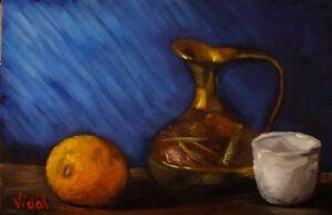 "Original still life oil painting ""Orange, cup, jug"""