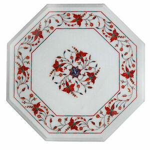 "12"" Marble Table Top Semi Precious Stones Carnelian art Inlay Home /office Decor"